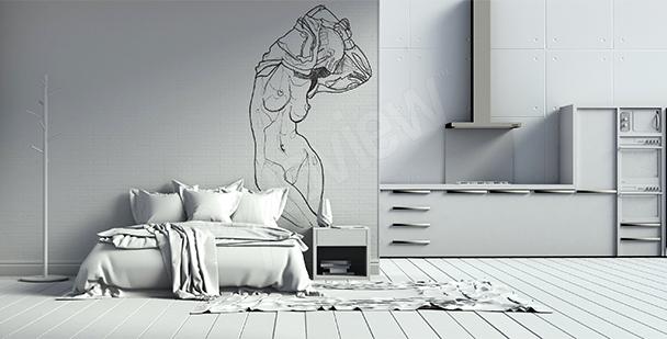 Papier peint esquisse de femme nue