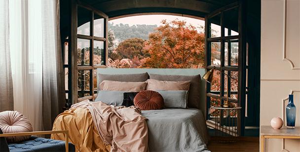 Papier peint fenêtre avec vue sur la forêt