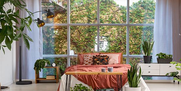 Papier peint fenêtre vue sur de la verdure