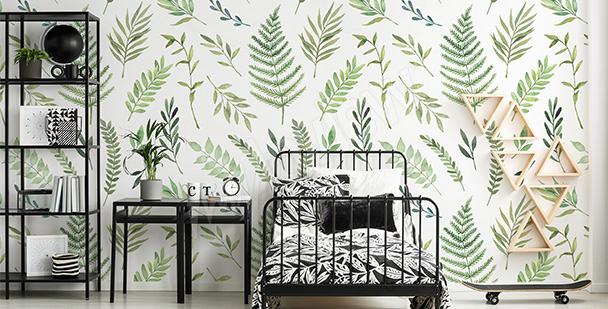 Papier peint feuillage vert