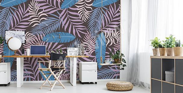 Papier peint feuilles de palmiers colorés