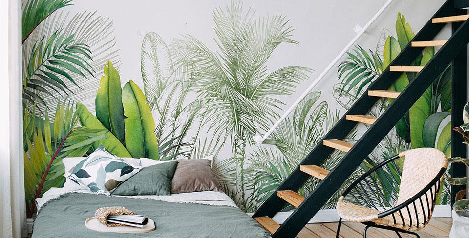 Papier peint feuilles et palmiers