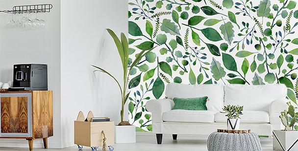 Papier peint feuilles vertes