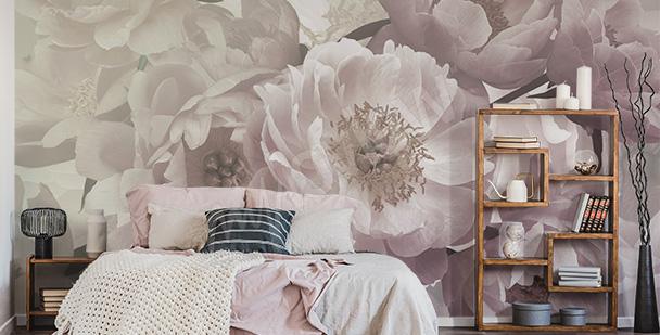 Papier peint fleurs blanches