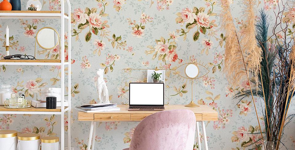 Papier peint fleurs romantiques