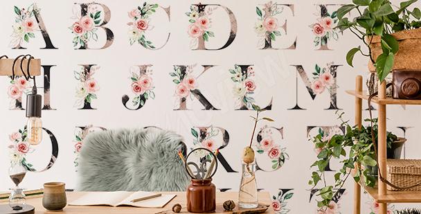 Papier peint floral motif alphabet