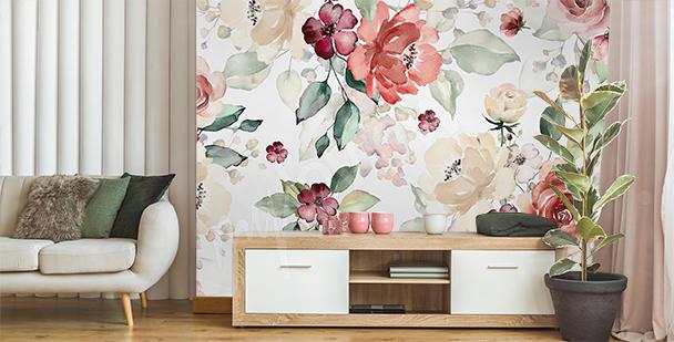 Papier peint floral pour salon