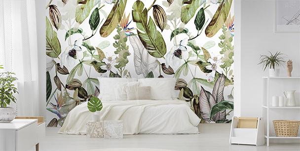 Papier peint flore exotique