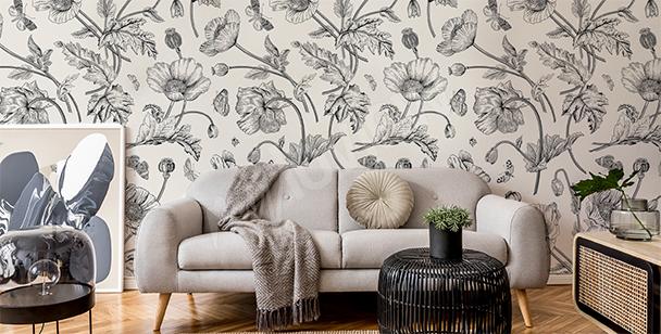 Papier peint flore rétro en noir et blanc