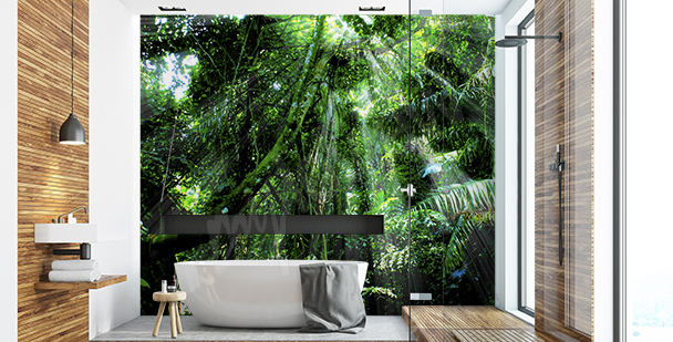 Papier peint forêt pour salle de bains