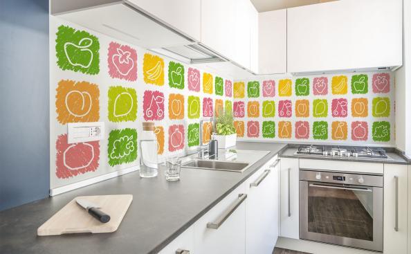 Papier peint fruits colorés pour cuisine