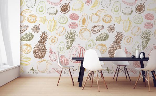 Papier peint fruits motif pour salle à manger