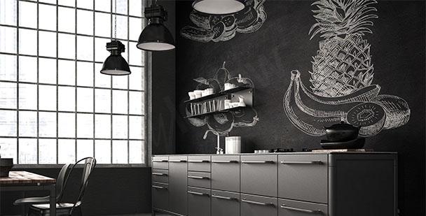 Papier peint fruits noir et blanc
