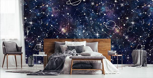 Papier peint galaxie en dessin