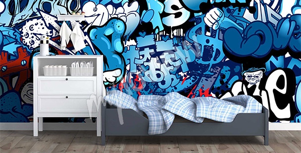 papiers peints graffiti mur aux dimensions. Black Bedroom Furniture Sets. Home Design Ideas