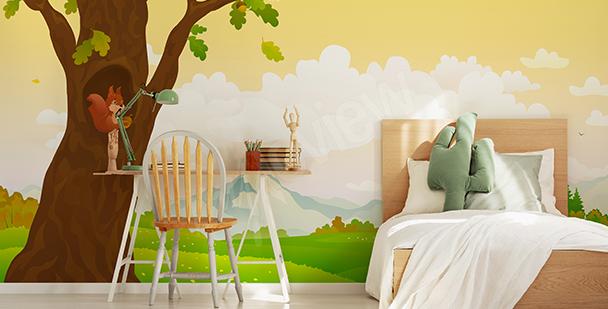 Papier peint image graphique arbre