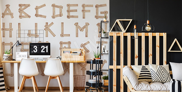Papier peint lettres en bois