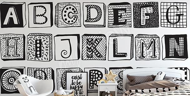 Papier peint lettres en noir et blanc