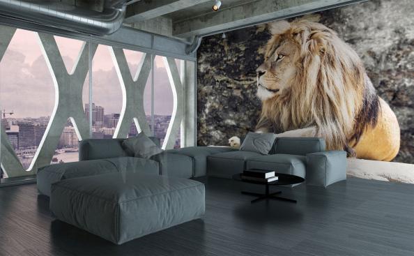 Papier peint lion pour salon