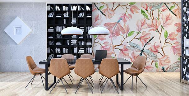 Papier peint magnolia aquarelle