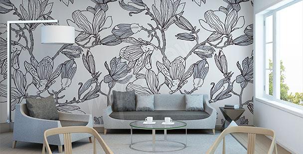 Papier peint magnolia esquisse
