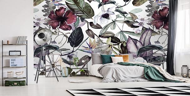 Papier peint magnolia et fleurs sauvages
