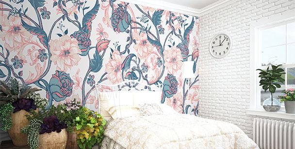 Papier peint magnolia et roses