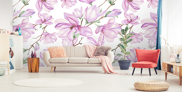 Papier peint magnolia blanc
