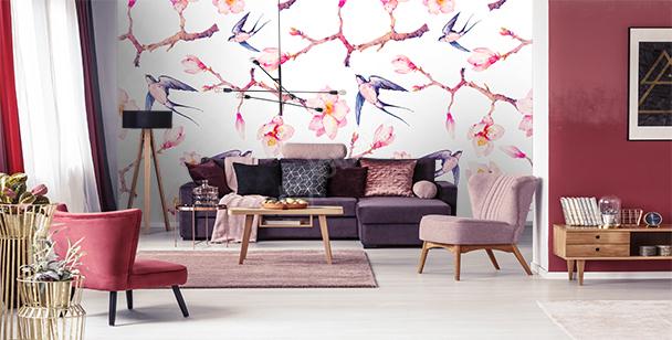 Papier peint magnolias et hirondelles