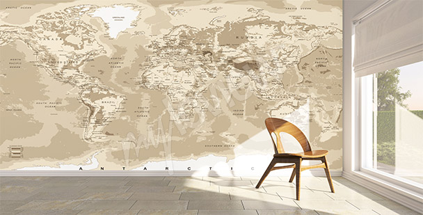 papiers peints carte du monde mur aux dimensions. Black Bedroom Furniture Sets. Home Design Ideas