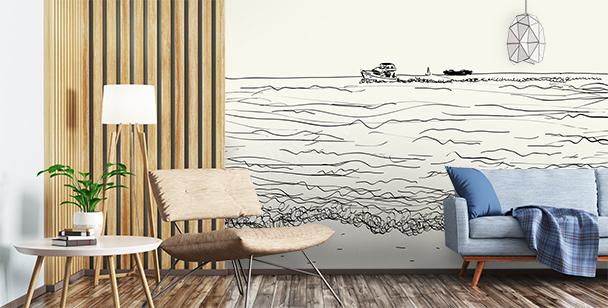Papier peint mer pour salon