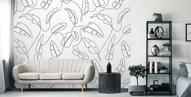 Papier peint minimaliste feuilles