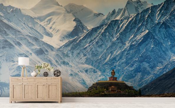 Papier peint montagnes pour un couloir d'entrée