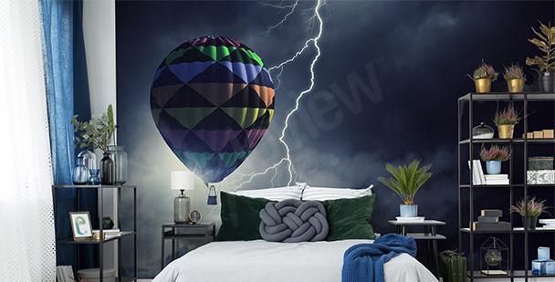 Papier peint montgolfière et orage