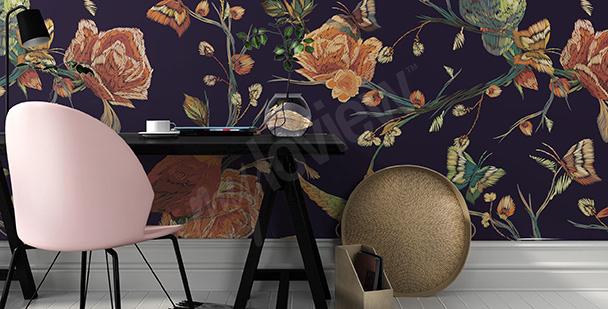 Papier peint motif à fleurs vintage