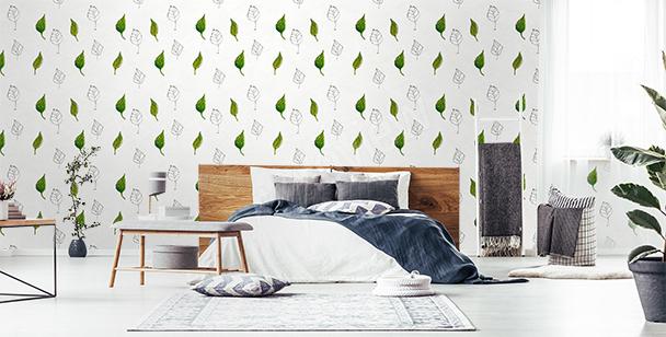 Papier peint motif feuille