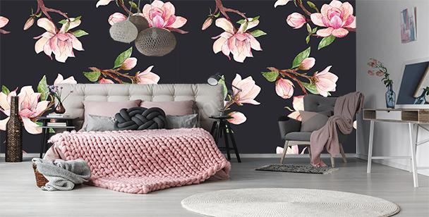 Papier peint fleurs de magnolia