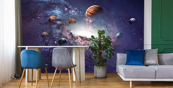 Papier peint planète pour salon
