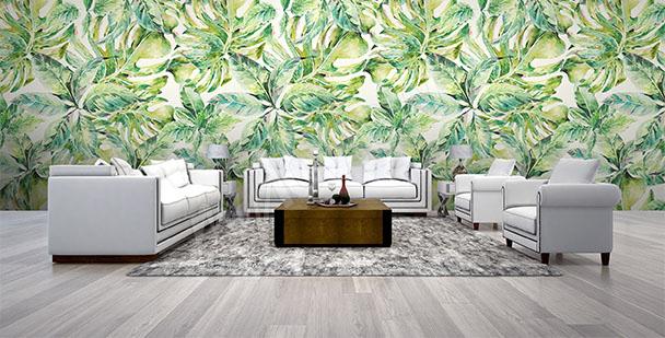 Papier peint motif vert pour salon