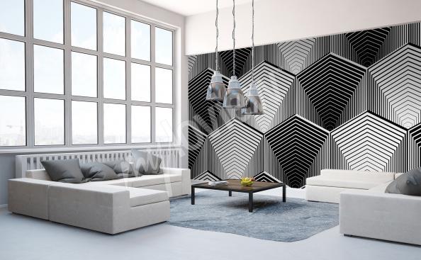 papier peint noir et blanc abstraction