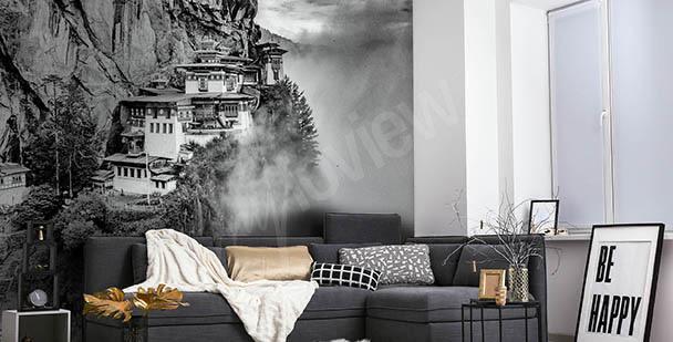 Papier peint noir et blanc avec un paysage