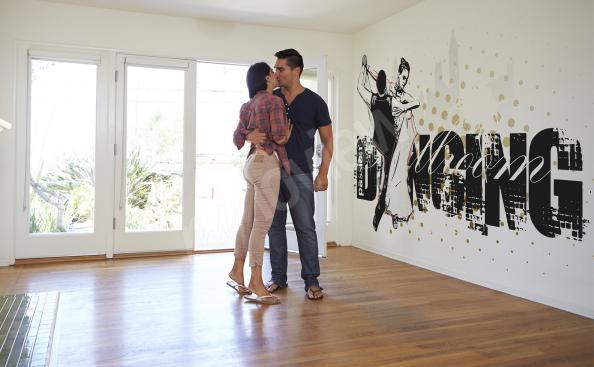 Papier peint noir et blanc couple dansant