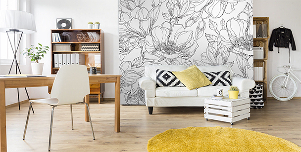 Papier peint noir et blanc magnolia