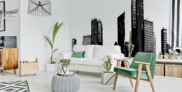 Papier peint noir et blanc panorama