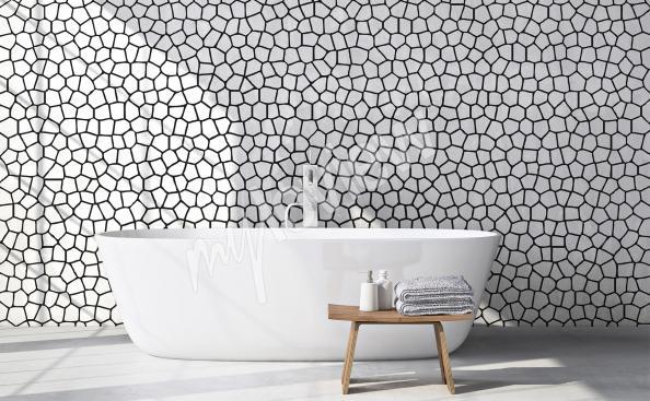 papier peint noir et blanc pour la salle de bain