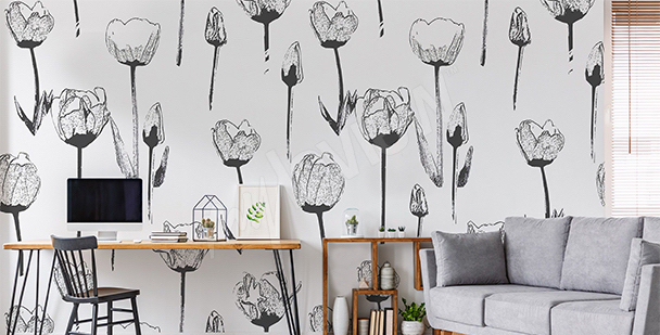 Papier peint tulipes blanches