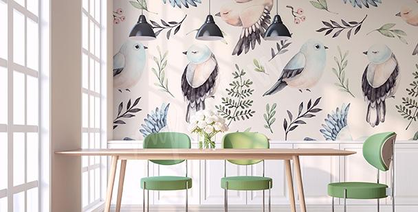 Papier peint oiseaux printaniers