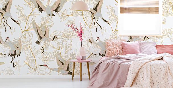 Papier peint oiseaux style asiatique