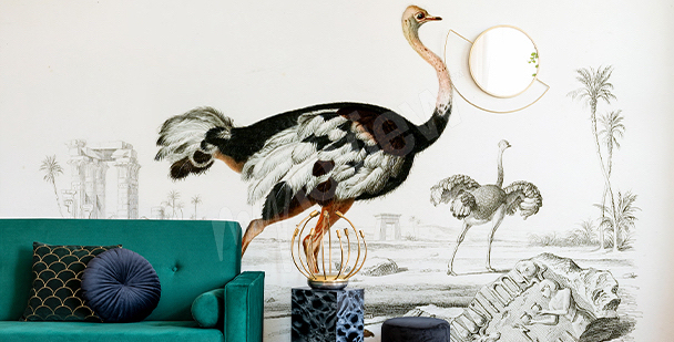 Papier peint oiseaux style glamour