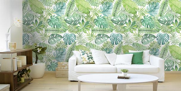 Papier peint palmier et monstera